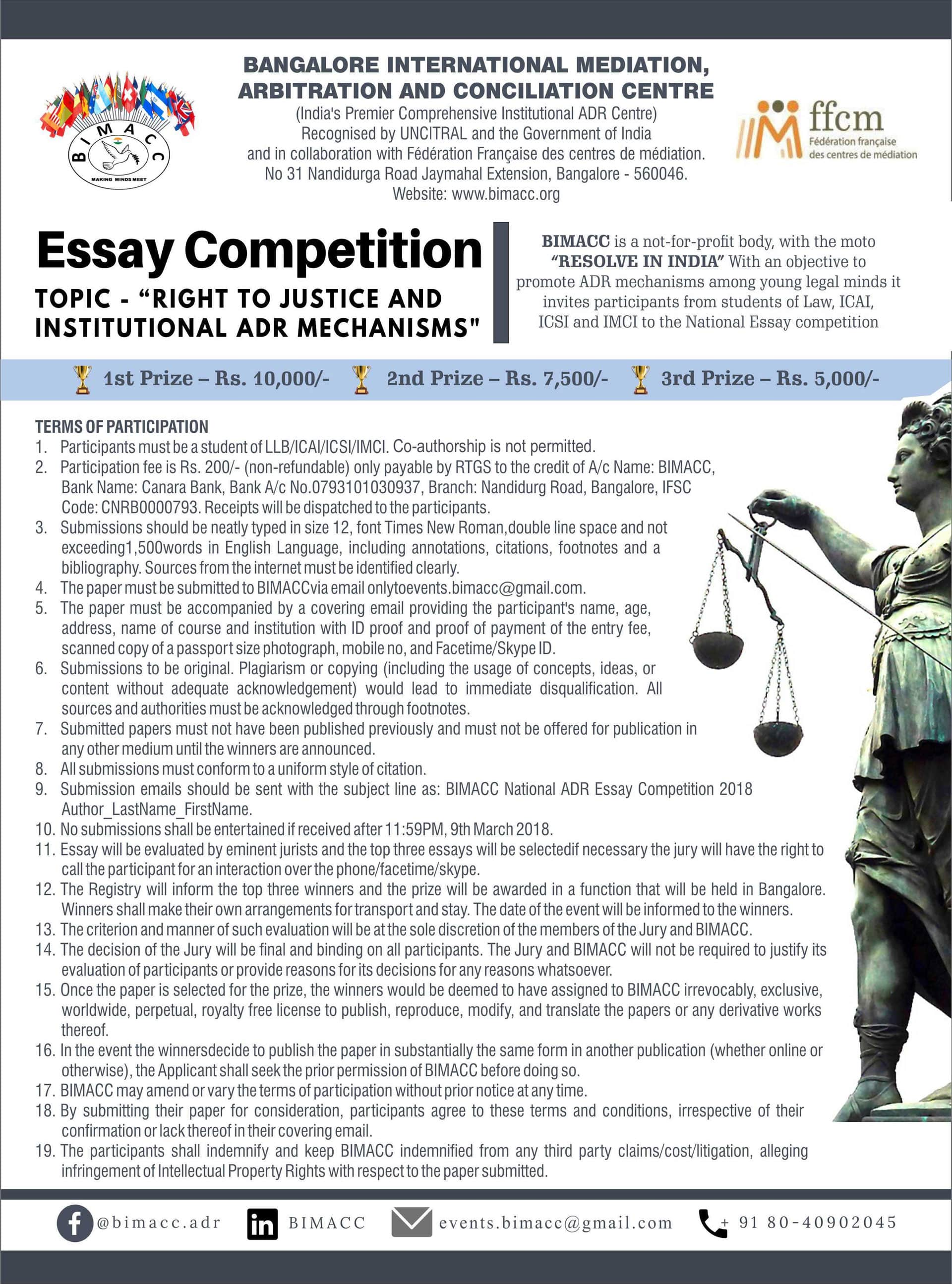 Arbitration And Conciliation Centre BIMACC Competition Name Essay Deadline March 9 2018