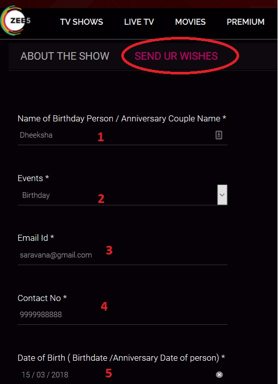Step 1 Enter Name Of Birthday Person Anniversary Couple 2 Select Events 3 Email Id 4 Contact No