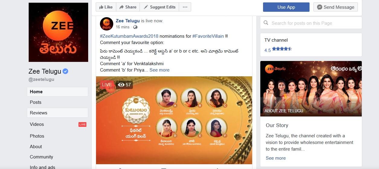 Zee Telugu ZKA Kutumbam Awards Live Polling/Voting 2018